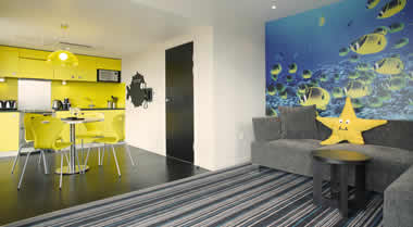 Lounge & Kitchen, Reef Apartment, Wave Hotel, Bognor Regis