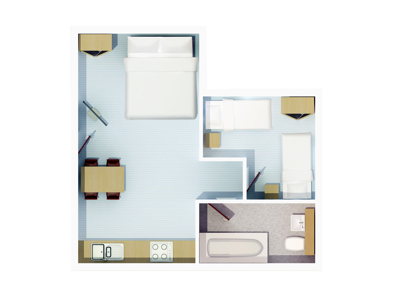 1 Bedroom Plus Double Bed In Lounge Floor Plan