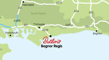 Map showing address of Bognor Regis Resort