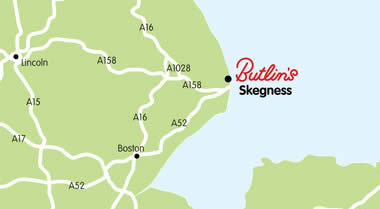 Map showing the address of Skegness Resort